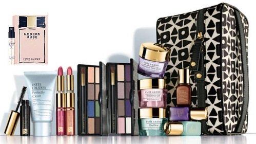 Estee Lauder 2013 8 Pcs peau Maquillage Ensemble-cadeau avec Cosmetic Bag Plus New Fragrance moderne Muse