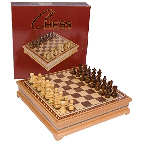Helen Chess Inlaid Wood Board Game with Weighted Wooden Pieces - 15 Inch Set ()