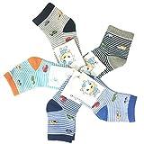 Little Boys Socks Cotton Cars Comfort Crew Socks 5 Pair Pack