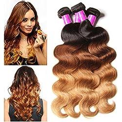ALI JULIA Brazilian Ombre Body Wave Hair Weave 3 Bundles 10A 100% Human Hair Extensions 95-100g/pc(16 16 18 inch)