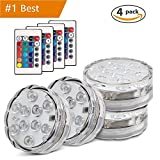 Submersible Led Lights, [Multi Color Remote Controlled Submersible LED Lights - 4 Pack]10 LED IR Controlled Submersible Light, for Aquarium, Pond, Party, Halloween, Christmas Lighting