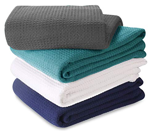 100% Soft Premium Cotton Thermal Blanket in Waffle weave- King 102x90 Charcoal-Snuggle in these Super Soft ,Breathable Cozy Cotton Blankets - Perfect for Layering any Bed,All Season Blanket
