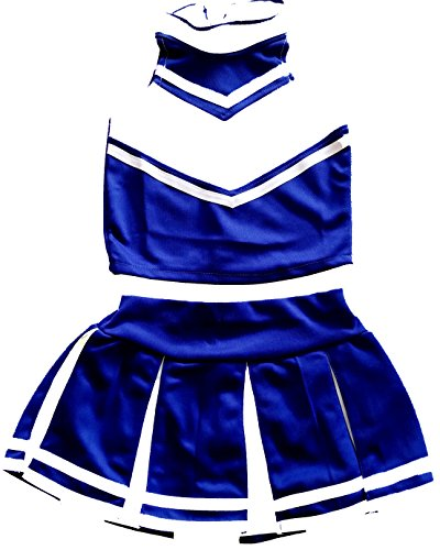 [Big Girls' Women Cheerleader Cheerleading Outfit Uniform Costume Cosplay (M/ 8-10, Blue/White)] (Cheerleader Outfit For Girls)