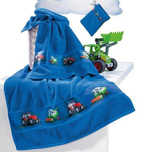 Kinderbutt Frottier-Set 3-tlg. inkl. Bestickung Frottee blau Größe 70x110 cm + 50x70 cm + 15x21 cm