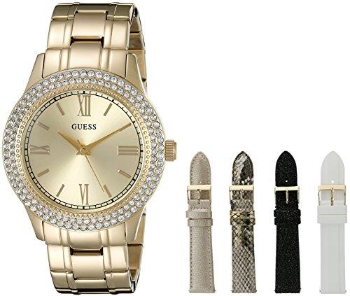 GUESS Women's U0713L2  Luxurious Gold-Tone Watch Set Interchangeable Straps and Bonus Jewelry Box