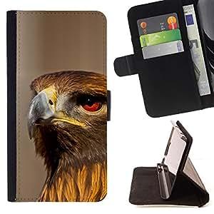 BullDog Case - FOR/Apple Iphone 4 / 4S / - / hawk bird ornithology nature prey hunting /- Monedero de cuero de la PU Llevar cubierta de la caja con el ID Credit Card Slots Flip funda de cuer