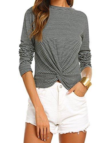 Qearal Women's Long Sleeve Striped Wrap Knot Twist Front Crop Top Tee T-Shirt Blouse (L, Dark Gray)