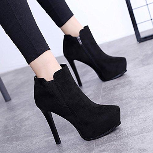 Damen Stiefel Freizeitschuhe Kurzschaft Stiletto Reißverschluss Plattform Winter Herbst Elegant Schick Schwarz Samt