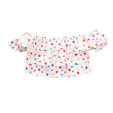04daa3df7e8 Big Promotion!PLOT Clearance Newborn Baby Girls Sleeveless Clothes Off  Shoulder Floral Clothing Outfit On Sale 0-3T  Amazon.co.uk  Clothing