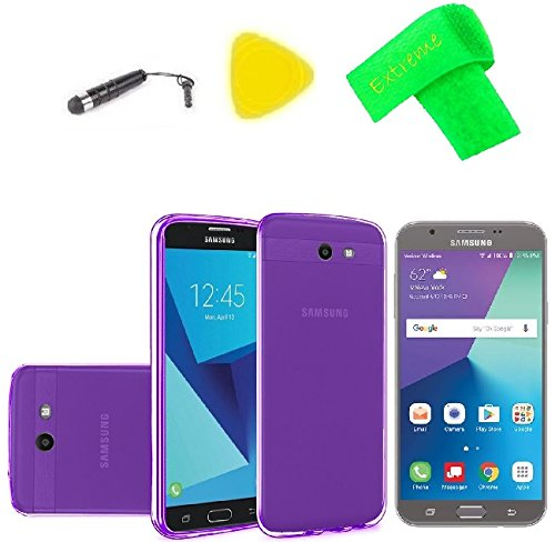 TPU Flexible Skin Cover Case + Screen Protector + Extreme Band + Stylus Pen + Pry Tool For Samsung Galaxy Halo Sky Pro J7V J7 V 2017 J7 Perx SM-J727R4 SM-J727A SM-J727V SM-J727P (TPU Frost Purple) ()