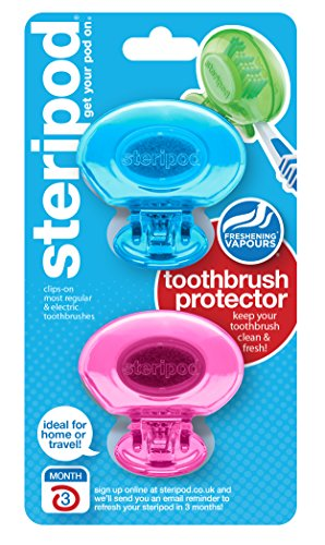 Steripod Clip-on Toothbrush Protector (2 Pack Pink and Blue) I Protects Against Soap, Dirt and Hair I For Travel, Home, Camping