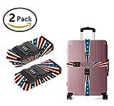 OKAYDECOR Long Cross Luggage Straps Suitcase Belts Patriotic American Flag