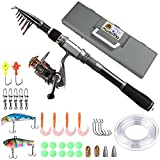 PLUSINNO Telescopic Fishing Rod Retractable Fishing Pole Rod Saltwater Travel Spinning Fishing Rods Fishing Poles (Full Kit with Carrier Box Case(silver), 1.8M 5.91Ft) …