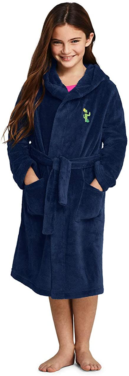 Lands End Kids Hooded Fleece Solid Robe