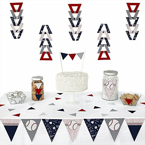 Batter Up - Baseball - Triangle Baby Shower or Birthday Party Decoration Kit - 72 Pieces ()