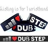 I Love Dub Step Wristband One Inch Dubstep Bracelet