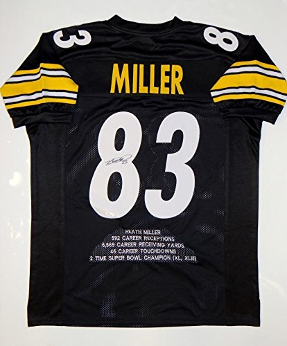 Autographed Heath Miller Jersey - Black Pro Style Stat Witnessed Auth - JSA Certified - Autographed NFL Jerseys ()