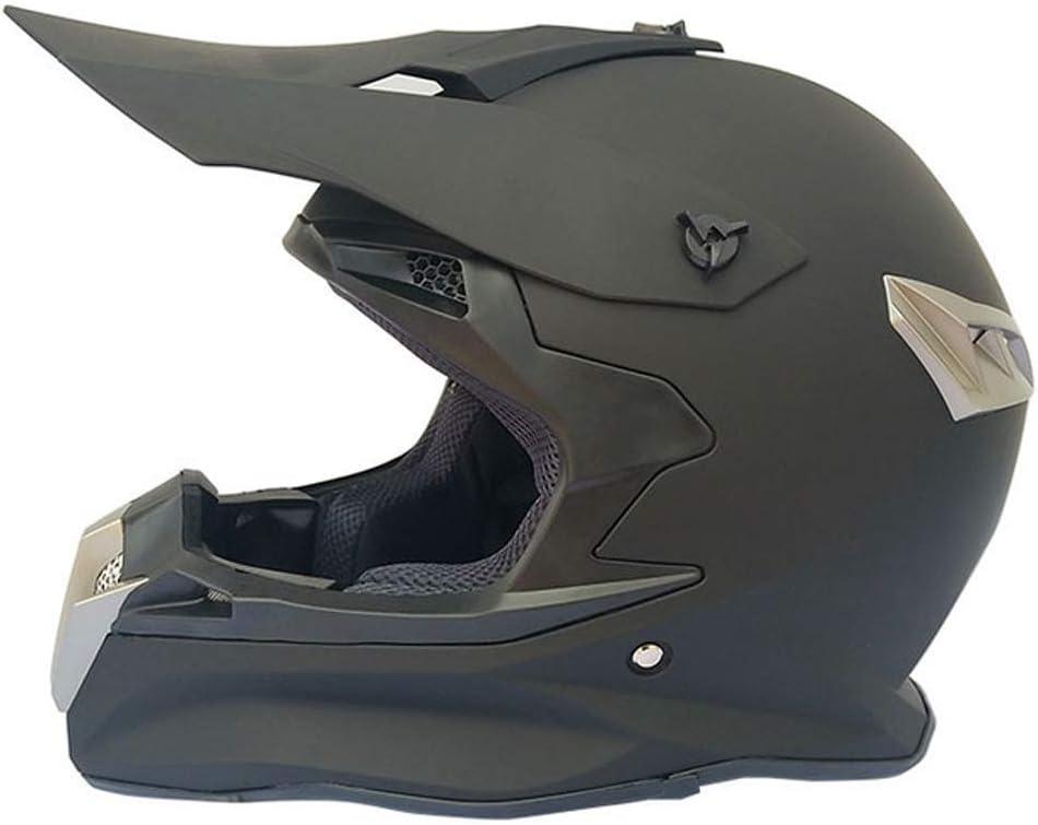 オフロードヘルメットアダルトマウンテンバイクモトクロスヘルメットフルフェイスMTBオートバイクラッシュヘルメットダウンヒルATVクワッドバイク、取り外し可能イヤーマフ付き、マットブラック,M