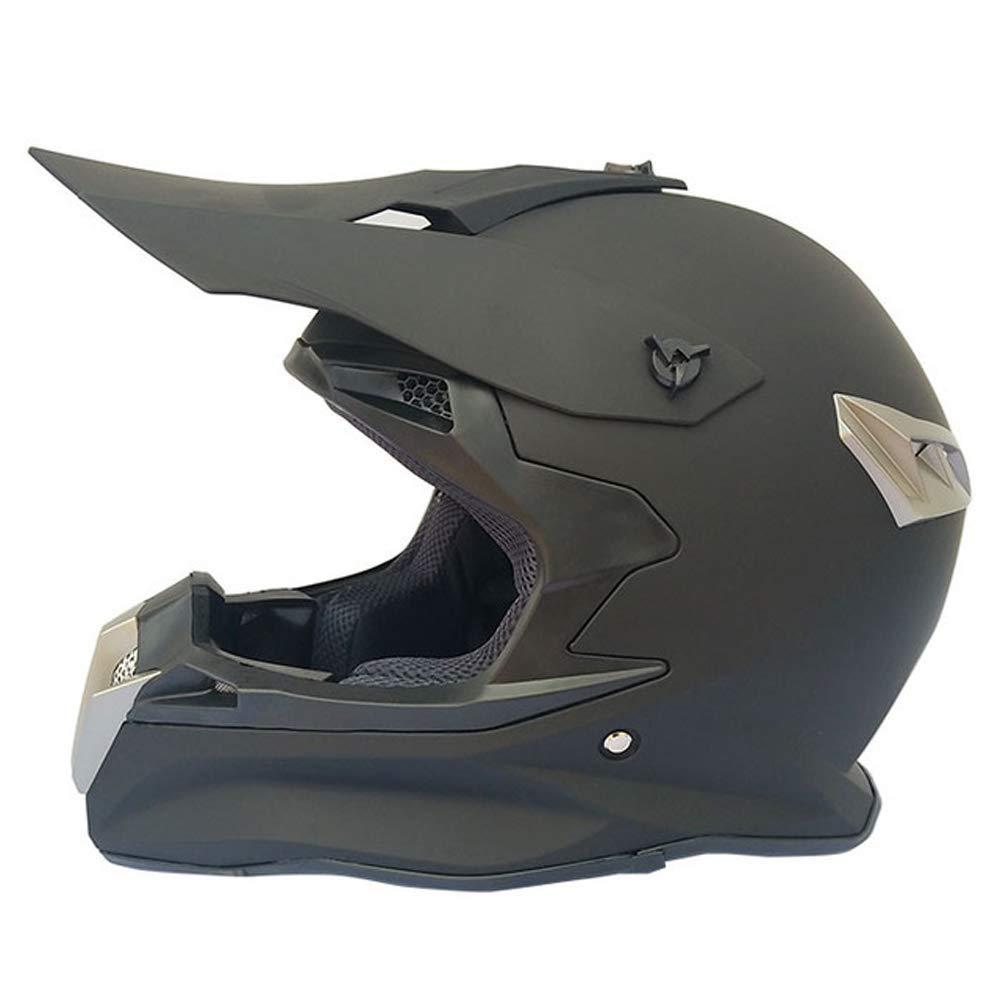 オフロードヘルメットアダルトマウンテンバイクモトクロスヘルメットフルフェイスMTBオートバイクラッシュヘルメットダウンヒルATVクワッドバイク、取り外し可能イヤーマフ付き、マットブラック,S