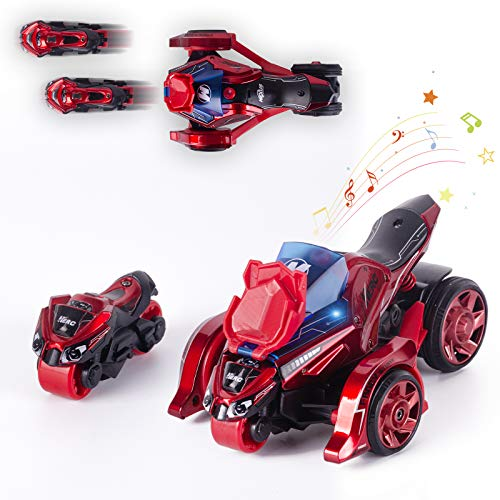 Thedttoy Pull Back Cars Toys 2 in 1 Pull Back Vehicles Toys 1:32 Scale Catapult Motorcycles with Cool Lights and Sound Best Cars Toys Gift Cool Present for Boy Birthday,Red …