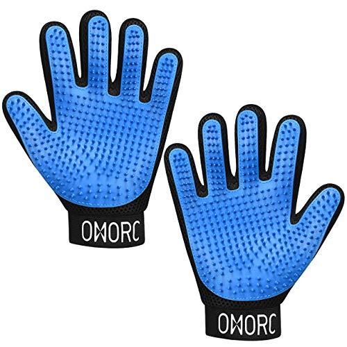 OMORC Pet Grooming Gloves – Upgraded 369 Tips Gentle Pet Deshedding Glove with Adjustable Wrist Straps, Ideal for Dog, Cat, Horse, Rabbit etc ()