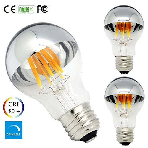 Pack of 3 A60 Dimmable LED Bulbs Half Chrome 6W A60 Light Bulb with Warm White 2700k, Medium E26 Base, 120V