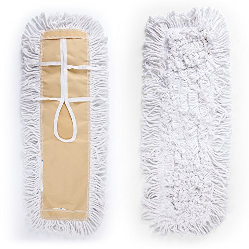 Shallylu 24'' Dust Mop Head, Dust Mop Refill Floor Mop Washable Cleaning Cotton Dust Mop for Hardwood Floor Clean, Office, Garage Care, Laminate, Tile Flooring, Home & Commercial Use by Shallylu