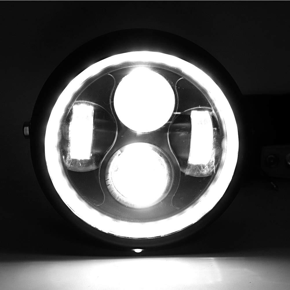 Qii lu Retro Style Universale per moto Faro a LED luminoso per moto rotondo nero