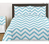 Turquoise and White Chevron 3 Piece Childrens and Teen Zig Zag Full / Queen Boy or Girl Bedding Set Collection