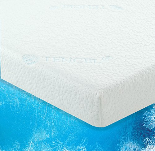 LuxLiving 2.5 Inch COOLING GEL Infused Memory Foam Mattress Topper with Removable & Washable Zippered Tencel Cover - Certipur Certified - SELF Approved - Twin XL Size