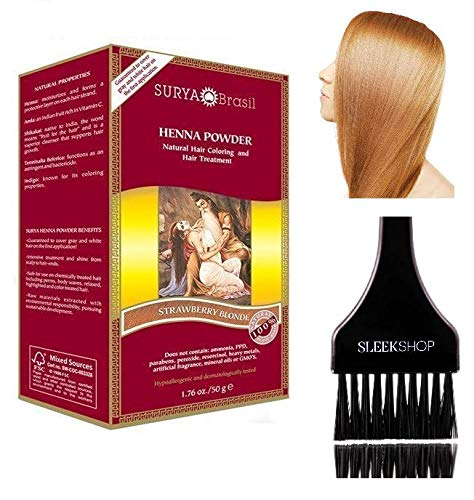 - Surya Brasil All Natural HENNA Hair Color POWDER Dye, Coloring & Hair Treatment (with Brush) Brazil (STRAWBERRY BLONDE)