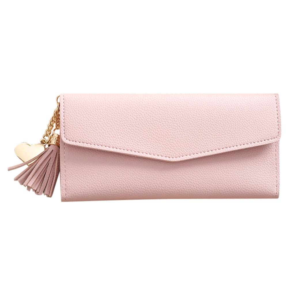 AMOUSTORE Large Womens Wallet Leather Vintage Ladies Credit Card Clutch Wallets for Women with Tassel Pink by AMOUSTORE