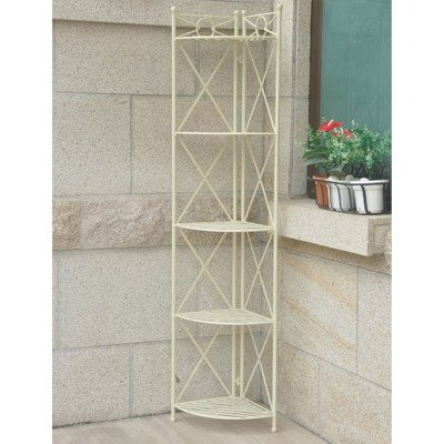 International Caravan Indoor/Outdoor Folding Bakers Rack with 5-Tier Made with Wrought Iron/Metal in Antique White 73'' H x 12'' W x 12'' D