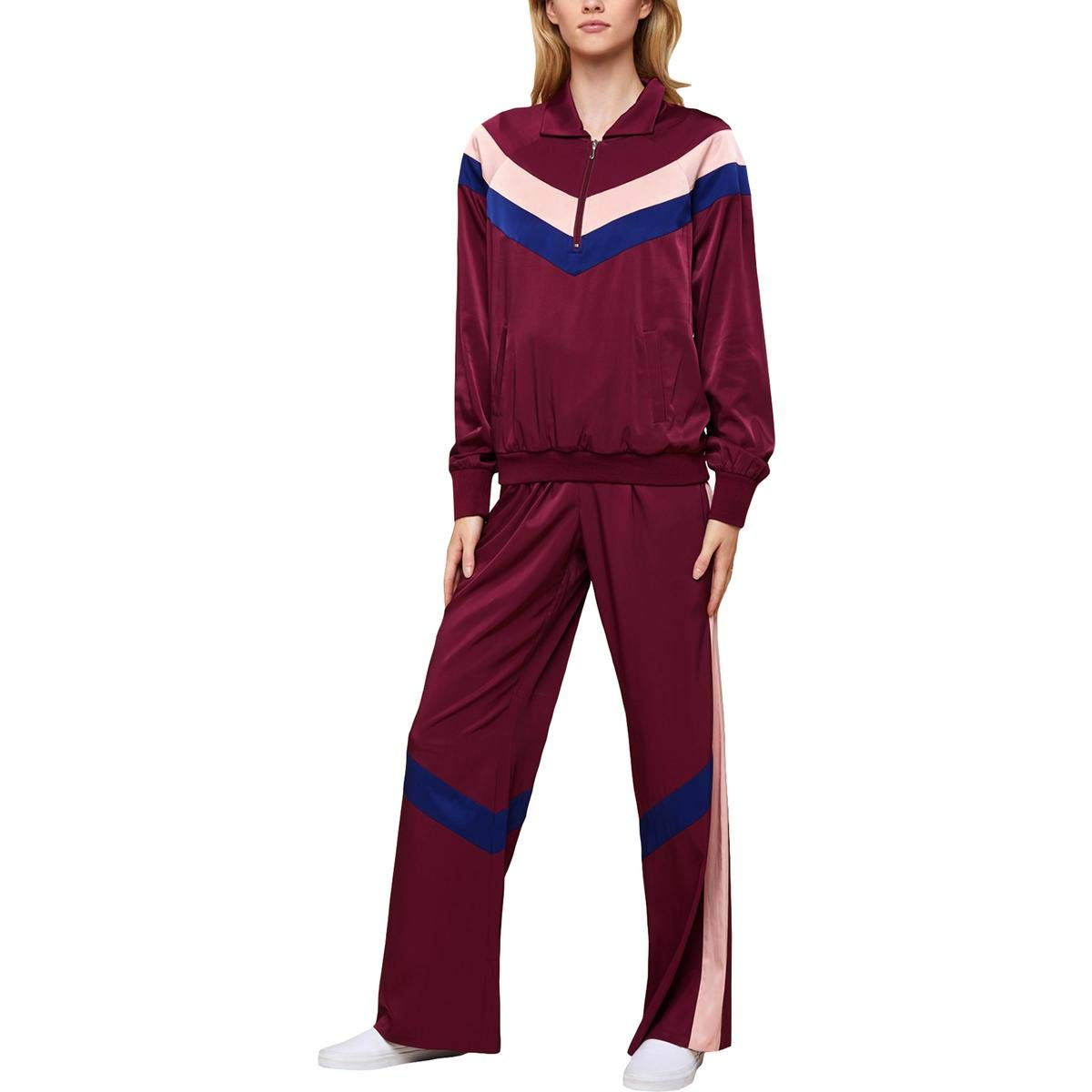 70s Workout Clothes | 80s Tracksuits, Running Shorts, Leotards Juicy Couture Color Block Satin Track Pants $32.99 AT vintagedancer.com