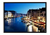 Grand Canal In Venice Italy At Sunset Black Wooden Frame Art Print Canvas Poster, Home Wall Decor(12x16x1.4 inch)