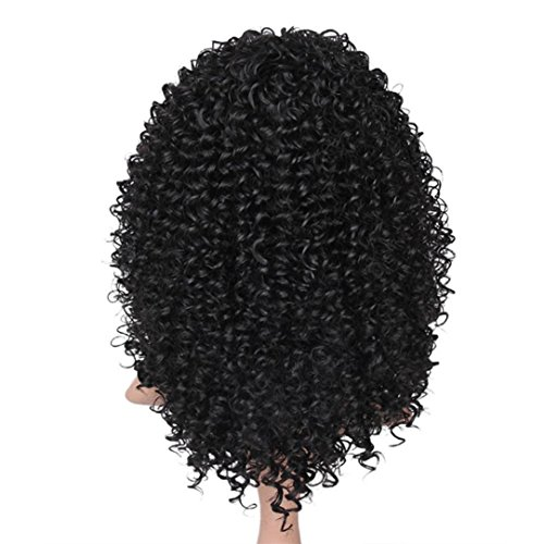 AMA(TM) Synthetic Afro Curly Hair Wigs for Black Woman Short Kinky Hair Jet Black Heat Resistance Fiber Human Hair (Black) by AMA(TM) (Image #4)