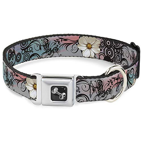 Buckle-Down Seatbelt Buckle Dog Collar - Flowers w/Filigree Pink - 1