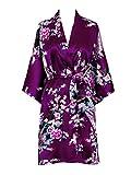 Old Shanghai Women's Kimono Short Robe - Peacock & Blossoms - Plum