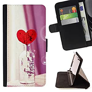 For LG G3 Case , Amor Botella Corazón- la tarjeta de Crédito Slots PU Funda de cuero Monedero caso cubierta de piel