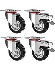 Nirox Set van 4 Zware Wielen 75 mm - Zwenkwielen met rem tot 200 kg - Massief rubber industriële wielen voor binnen en buiten gebruik - Trolley Meubelwielen 95 mm totale hoogte