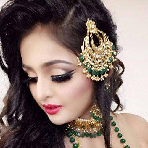 Art Of Hair Fashion Jewellery Jhumar Passa Green Stone Side Maang