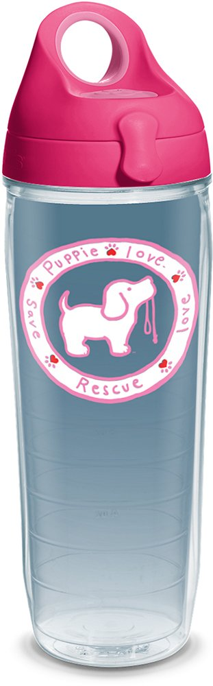 Tervis 1293508 Puppie Love-Pink Pup Tumbler with Wrap and Passion Lid, 24oz Water Bottle, Clear