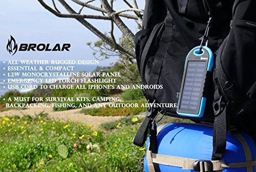Brolar-Solar-Charger-5000mAH-Portable-Power-Bank-for-iPhone-6-iPad-Android-Cell-Phone-Tablet-Waterproof-DustProof-ShockProof-Portable-Smart-Phone-Charger-by-Brolar