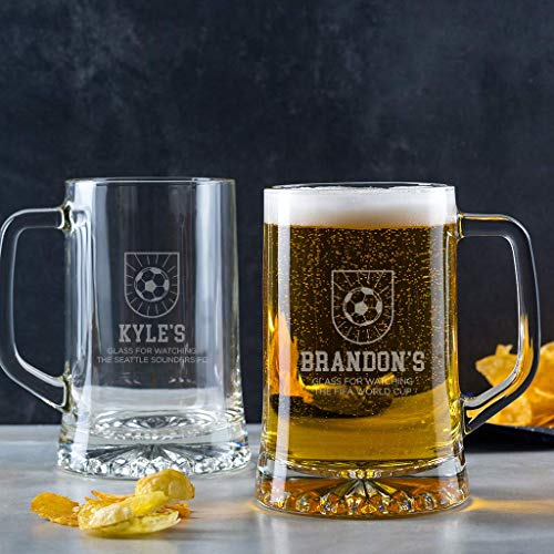 - Soccer Beer Mug - Personalized Soccer Gifts for Men Him - Unique Birthday, Anniversary, Fathers Day Gift - Engraved Tankard Pint Glass with Handle