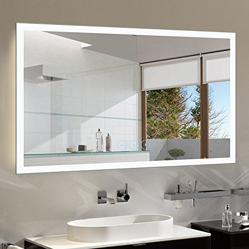D-HYH 55 x 36 in Horizontal Dimmable LED Bathroom Mirror with Anti-Fog and Bluetooth Function DK-D-N031-T