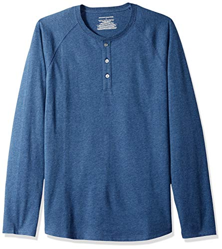 Amazon Essentials Men's Regular-Fit Long-Sleeve Henley Shirt, Blue Heather, X-Large (Best Over And Under For The Money)