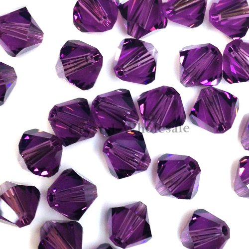 36 pcs Swarovski crystal 5328 / 5301 6mm AMETHYST (204) Genuine Loose Bicone ()