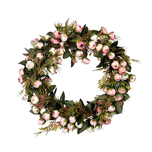 SODIAL Christmas Flower Wreath Rose Garland with Elegant Best for Home Wall Door and Window Decoration Wedding Decoration
