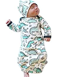 BANGELY Newborn Baby Cartoon Dinosaur Sleep Gown Swaddle Sack Coming Home Outfit+Cap