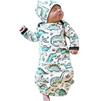 Newborn Baby Cartoon Dinosaur Sleep Gown Receiving Blankets Coming Home Outfit+Cap